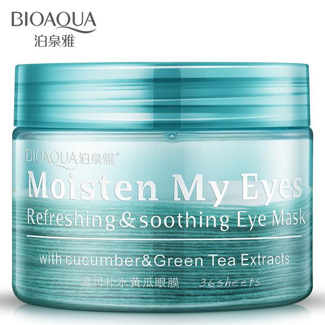 2016 recién llegado de hot venta mujer anti-ojeras ojos hidratante de pepino máscara de ojos 36 unidades para mejorar el negro cuidado de arrugas