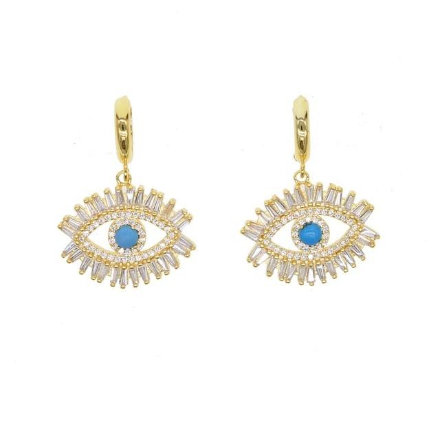 99ad5bd4a gold color fashion elegant women turkish evil eye nano turquoises dangle  earring top quality Baguette cubic zirconia earring