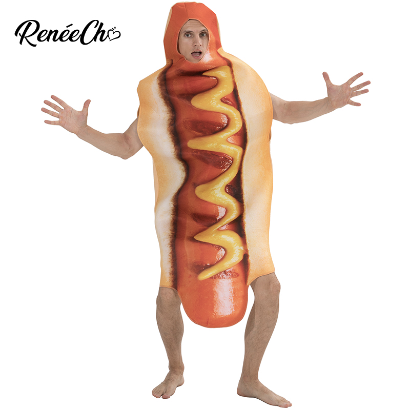 Halloween Costume For Men Hot Dog Costume Funny Hotdog Food Cosplay Carnival Costume Adult Mens Party Cosplay Holiday Costume