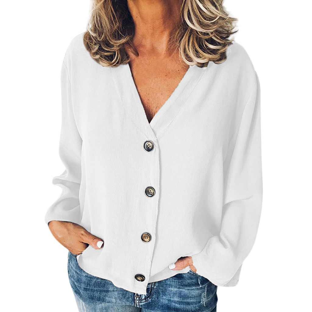 Women's Casual Solid White Long Sleeve V-Neck Buttons Opening Loose Blouse Shirt Tops Blouse Spring Girl's Ladies Blusas Camisa