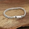 S925 wholesale silver jewelry Mens handmade Thailand silver buckle twist flat buckle bracelet