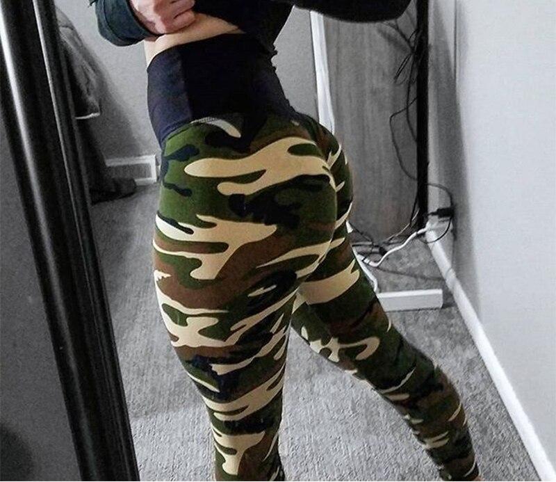 Fashion Camouflage Leggings For Fitness Legging Sportswear Leggins Femme High Waist Elasticity Wrinkle Leggings 4Color