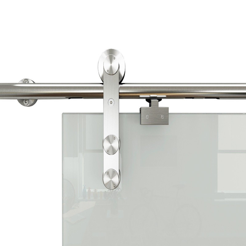 DIYHD Stainless Steel Two Sides Soft Close Mechanism Office Glass Sliding Door