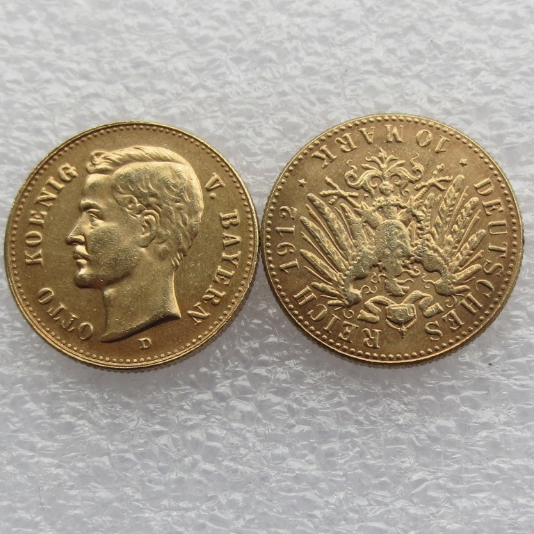1912 Germany Bavaria 10 Mark Gold Plated Copy Coins High Quality