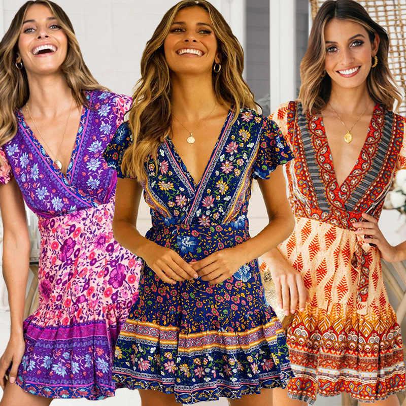 50d89e0b4a1 Elegant V neck dress women Floral print short sleeve chiffon mini summer dresses  Boho beach female