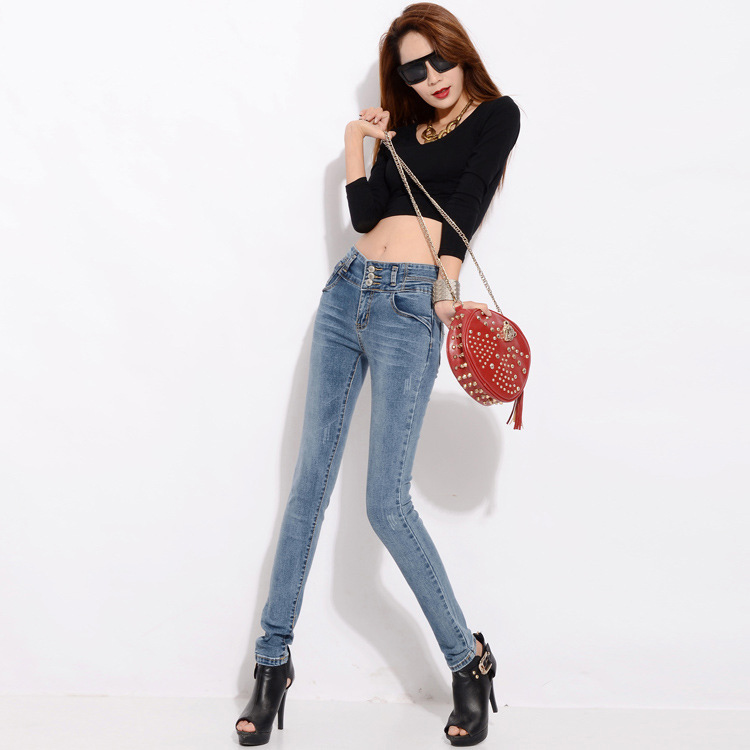 2016 Autumn and Winter New One-breasted Retro High Waist Jeans Autumn Female Trousers Slim was Thin Stretch Pants AXD1518