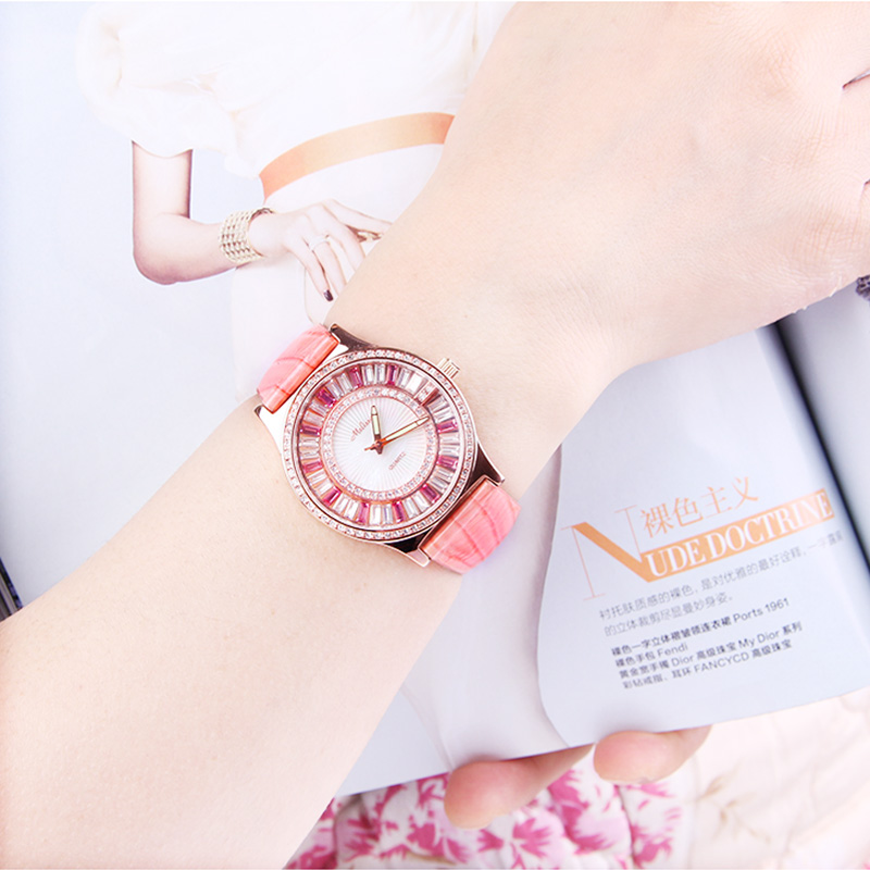 MELISSA watch female fashion trend pink rhinestone table fashion epidermis strap retro female student luminous FREE SHIPPING