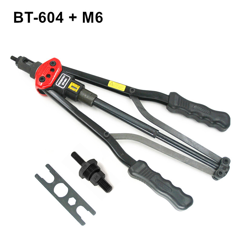 high quality 440mm 17 inch hand riveter pull rivet nut riveting tools with one die of M6 free shipping BT-604 auto remove nut 1pcs ergonomic hand squeeze pop rivet gun tool riveter poprivet