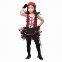 HOT SALE Crianças Pirata Meninas Em Camadas Vestido de Gaze + Cachecol + Luvas Halloween Costume Outfit (sem Faca) L