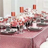Wholesale 10PCS Pink Gold Sequin Tablecloth Wedding Cake Tablecloth Rectangle Sequin Table for Wedding Decoration90x156inch