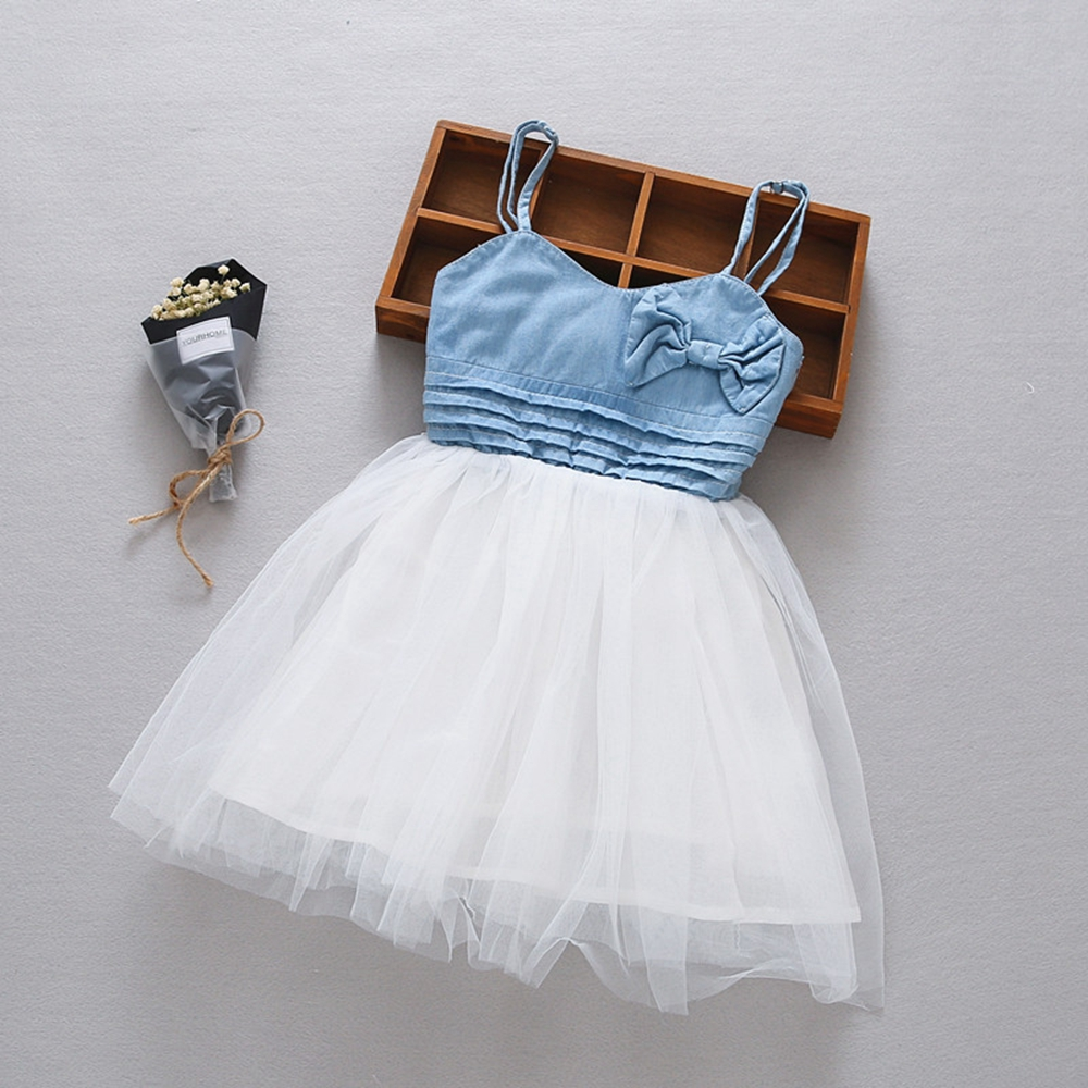 2-3T Little Girls Jeans Dress Bow Kids Dress Summer Sleeveless Toddler Mini Dress Children Clothes Cotton Bebe Clothing цена и фото