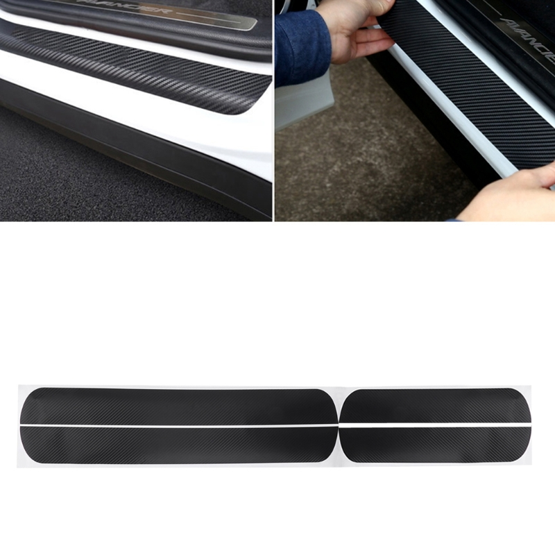QILEJVS 4 Pcs Car Door Scuff Sill Plates Step Plate Protector Carbon Sticker For Ford Fiesta 2009-2017 yi 221 door guard protector decorative sticker for auto car white 4 pcs