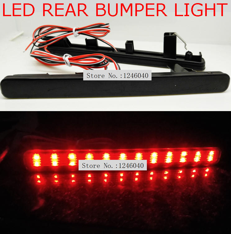 Rear Bumper Reflector Black Lens LED Tail Stop Brake Light Lamps Land Rover Red