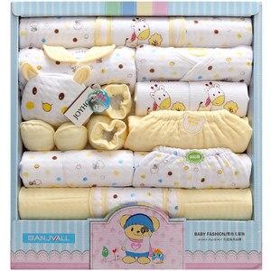 Image 3 - 18 조각 신생아 아기 세트 소년 의류 100% 코튼 유아 정장 아기 소녀 옷 복장 바지 아기 의류 모자 턱받이 로파 드 비비