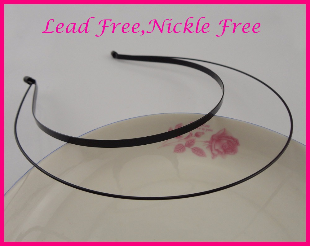 5pcs 3mm Black double wire Metal headbands with 20mm pads,nickle free,lead free