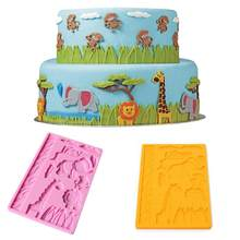 1 pc Elephant giraffe Zoo Animal Jungle World lion grass monkey Silicone Mold Cake Lace Decorating Fondant Sugar Cake Tool(China)
