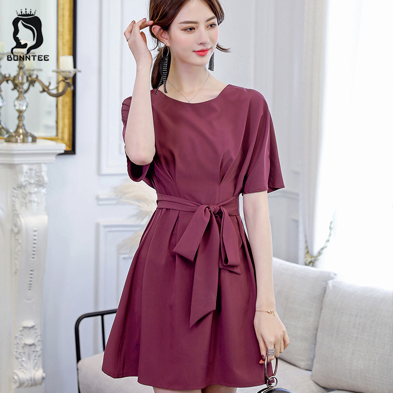 Korean Style Fashion Women Dresses Womens Summer Short Sleeve Sashes Slim Female Dress Females Trendy Elegant High Waist Ladies