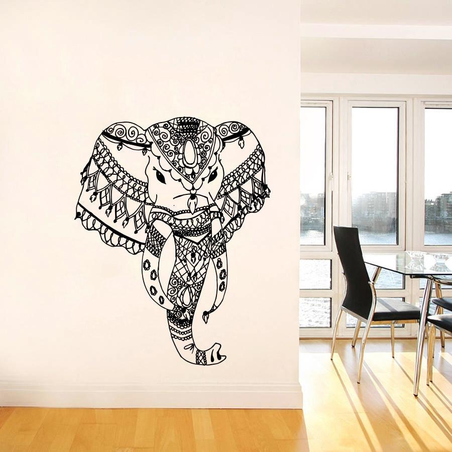 Afrika stil tribal bohemian elephant head wandaufkleber wohnkultur wohnzimmer yoga religiöse wandtattoo wand wallppaer wm