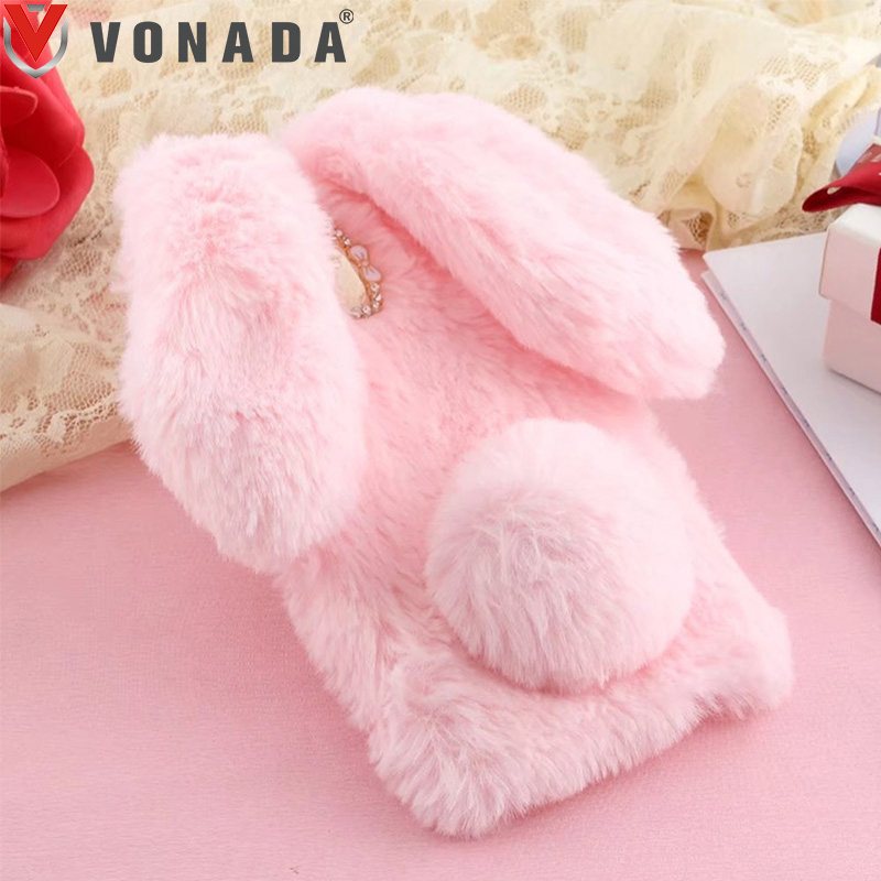 Vonada Plush Case for Doogee X10 X9 Mini X7 Y100 Pro HT30 HT37 Shoot 1 Cute Rabbit Ears Fur Cover TPU Jewelled Soft Case Cover