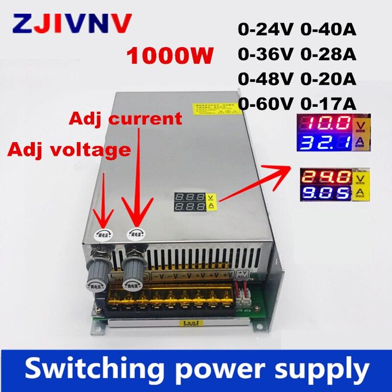 1000 w 디지털 디스플레이 스위칭 전원 공급 장치 가변 전압 및 전류 제한 0-24 v 36 v 48 v 60 v, smps 24v 40a, 48 v 20a