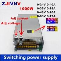 Pantalla digital de 1000W interruptor de fuente de alimentación tensión regulable y límite de corriente 0-24V 36V 48V 60 v  SMPS 24v 40 A  48V 20 A