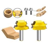 1 2 Shank Wood Cutter 2pcs Lock Miter Router Glue Joinery Router Bit Set Tenon Cutter