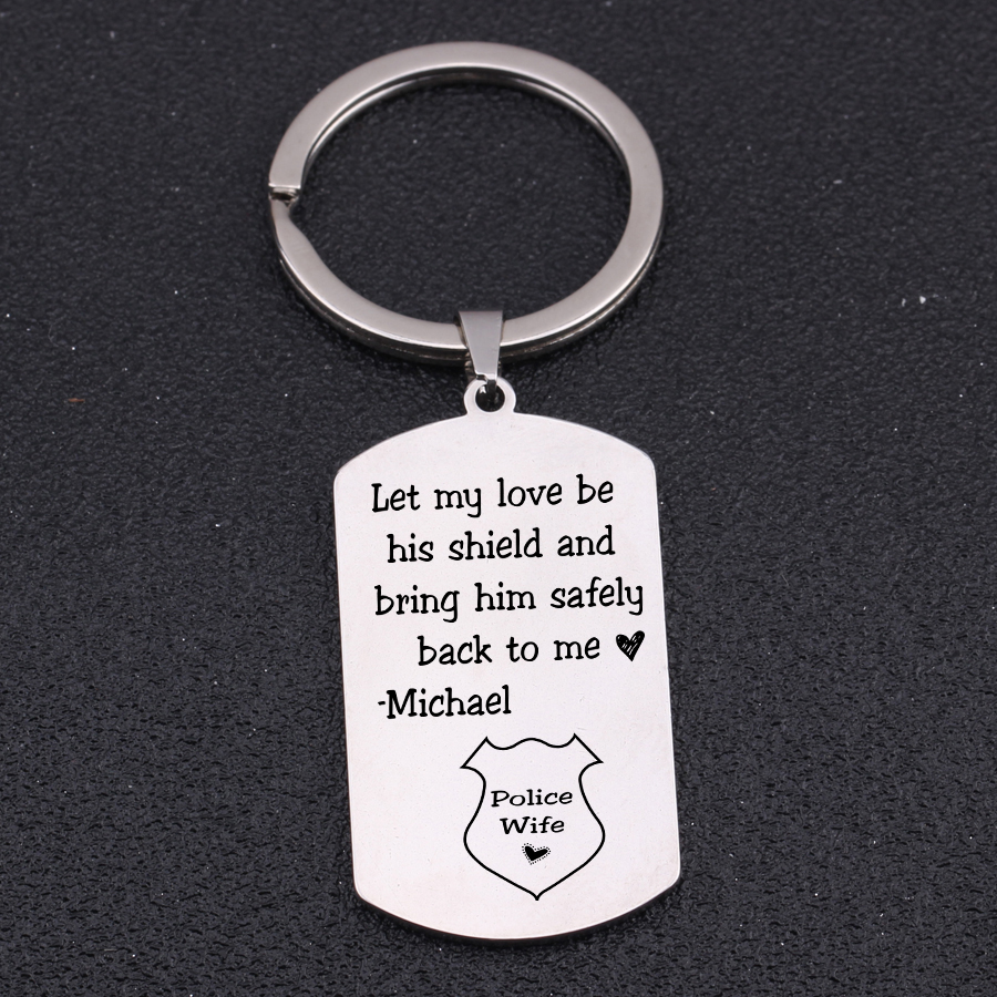 """""""bring Him Safely Back To Me""""for Police Wife Police Husband Name Customized Jewelry Hand Stamped Gift For Police Couple"""