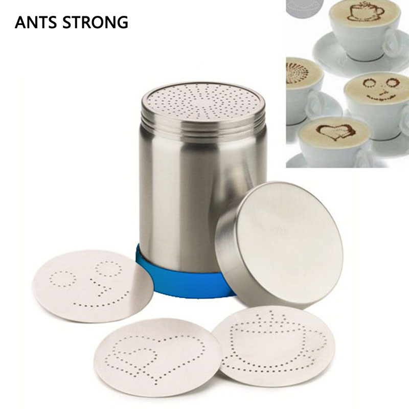 ANTS STRONG reative rotate type coffee duster/4 fancy molds coffee sifter pull flower tool art barista stencils