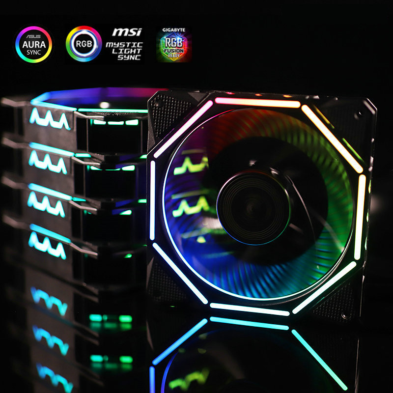 Computer Case RGB Fan KITS LingLong Exquisite Discolorable Halo 12025 For  PC Case
