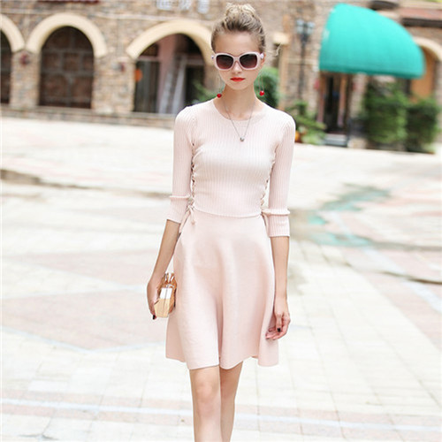 Vintage Knitting Half Sleeve Women O-neck Short Dress 2017 Brand Autumn Knitted Sweater Strappy Dresses Vestidos Solid Pink Slim
