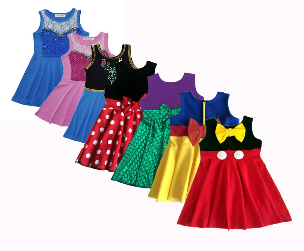 Girls princess summer dress evening dress anna snow white elsa belle tinker belle rapunzel cinderella mermaid ariel