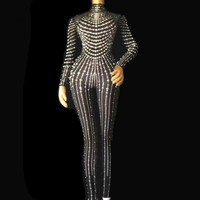 Fashion Black Nude Pearls Jumpsuit One piece Stretch Sexy Bodysuit Stage Performance Party Celebrate Luxurious Leggings