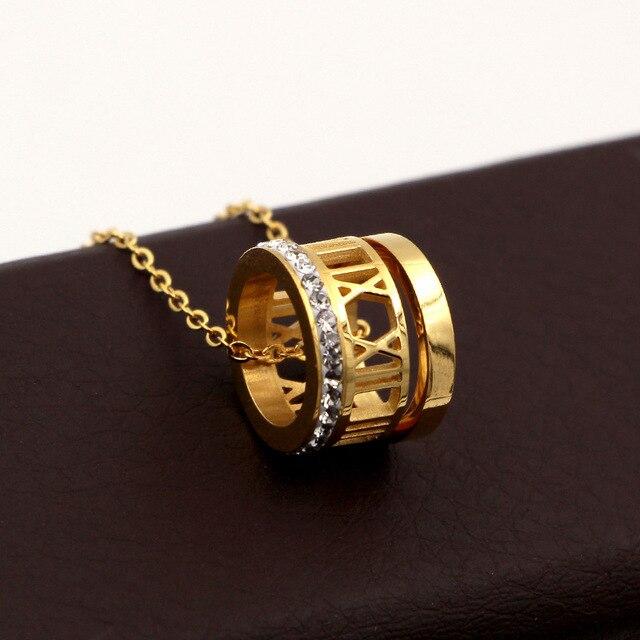 c43a4c5dd317 Oro y Plata Collar para Niñas enclavamiento círculos colgante collar tyme  encanto Carter amor para las