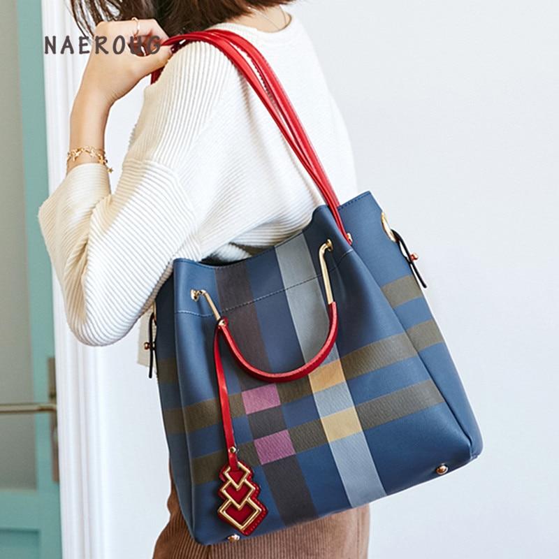 Designer Classic Plaid Stripe Tote Small Plaid Bucket Women Split Leather Handbags Ladies Bag Messenger Bags for Female louis gg
