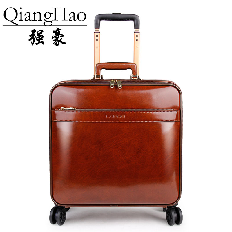 100 Genuine leather Men Retro Rolling Luggage Caster 20 inch Cabin Travel Bag Wheel Suitcases Business