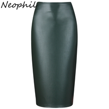 Neophil 2017 Ladies Sexy Shining Faux Leather Midi Pencil Skirts High Waist Summer Elastic Bodycon Sexy Office Short Saias S0308