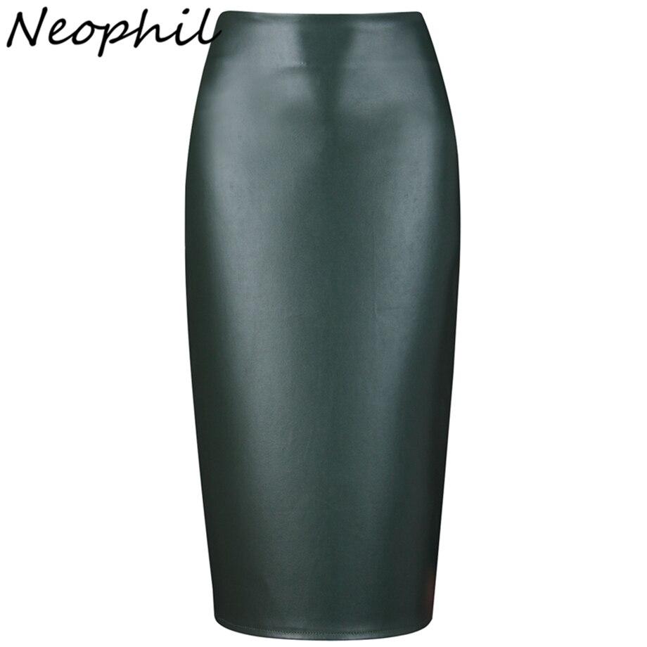 Neophil 2019 Damen Sexy Glänzende Kunstleder Midi Bleistift Röcke Hohe Taille Sommer Elastische Bodycon Sexy Büro Kurze Saias S0308