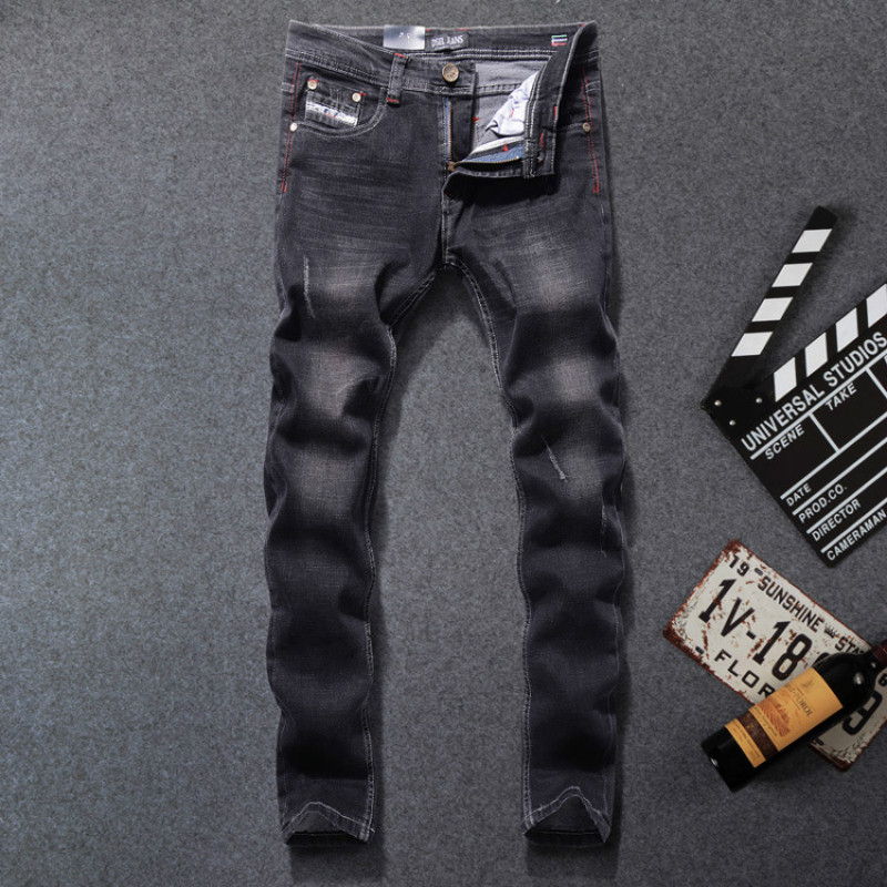 Dsel Jeans Men Solid Black Jeans Streetwear Famous Brand Logo Trousers Slim Straight Denim Thin Stretch Mens Skinny jeans 2017 fashion patch jeans men slim straight denim jeans ripped trousers new famous brand biker jeans logo mens zipper jeans 604