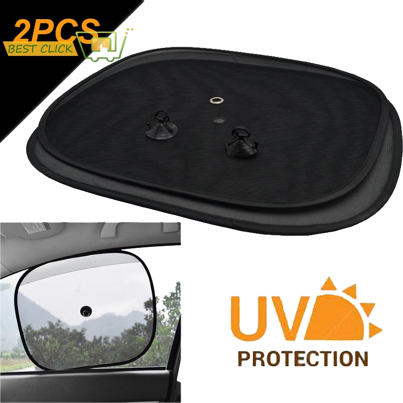 ANN 2pcs Black Side Car Sun Shades Rear Window Sunshades Cover Mesh Visor Shield Screen Interior UV protection kids baby Travel