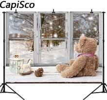 Capisco fotografia pano de fundo fundo da floresta da neve do Natal velho urso janela decoração presente da foto do retrato shoot prop photocall