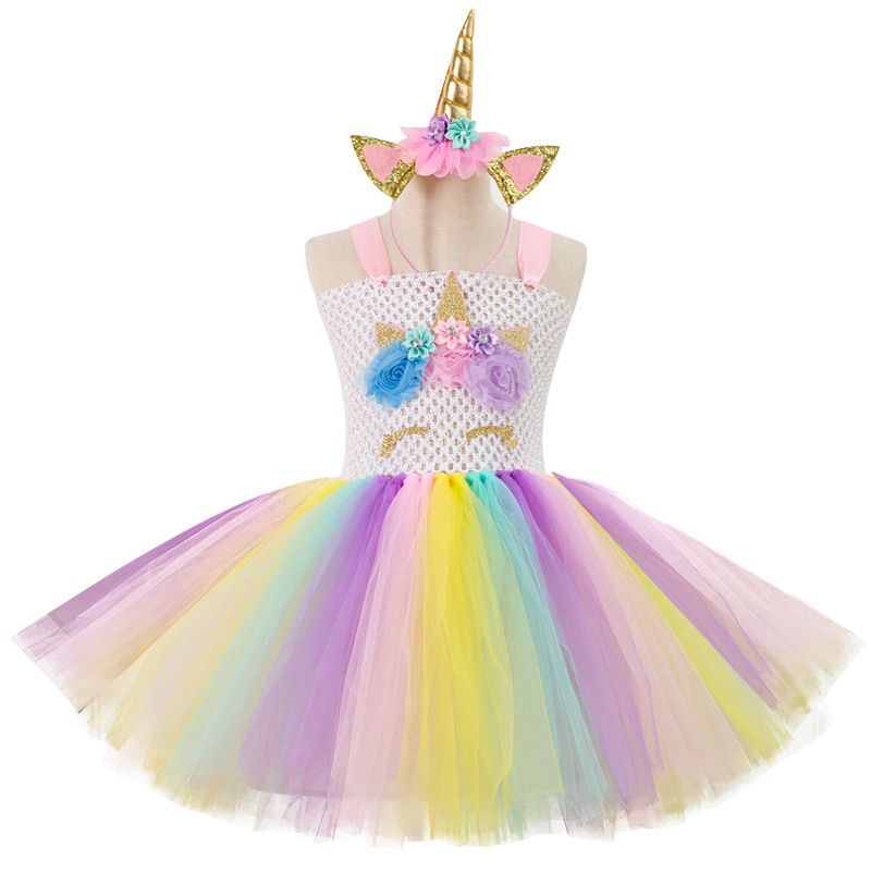 New Vestidos Kids Dresses For Girls Summer Wedding Dress Unicorn Party Dress  For Girls Costumes Dresses. sku  32911689172 c25e75b53d35
