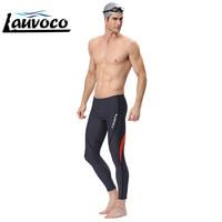 2019 Men's Swimming Trunks Waterproof Long Pants Professional Boxer Swimwear Racing Swimsuits Plus Size Sharkskin Beachwear