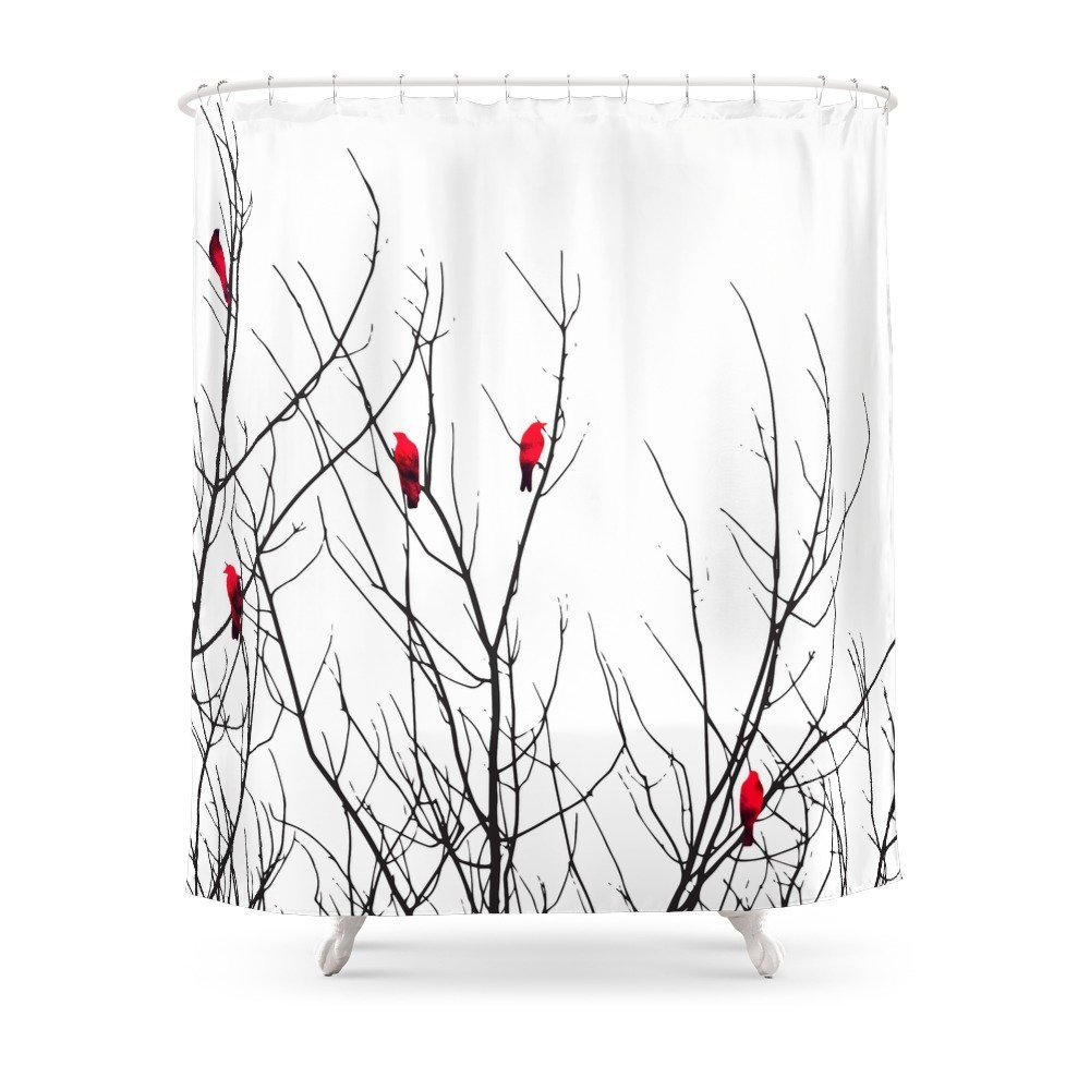 Artistic Bright Red Birds On Tree Branches Shower Curtain Waterproof Polyester Eco Friendly Antibacterial Curtains In From Home