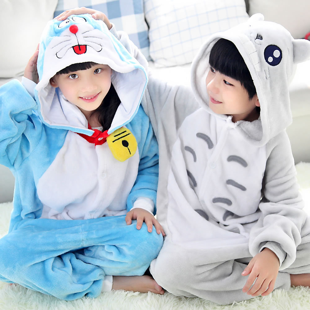 Cute Boy Totoro And Girl Doraemon Cartoon Character Children Winter Flannel Pajamas Hooded Long Sleeves Kids Sleepwear Homewear