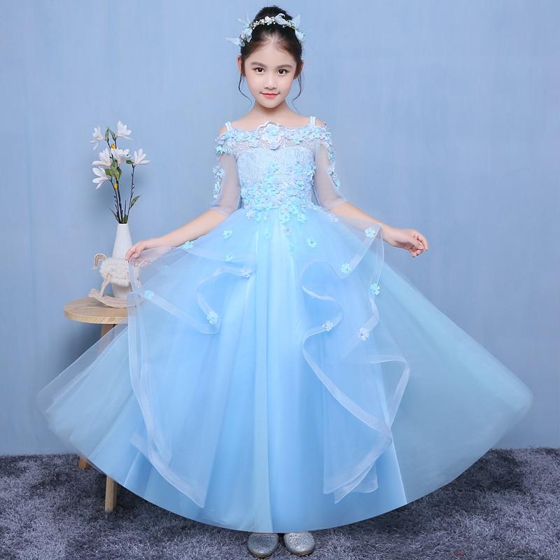 Здесь продается  Blue Long Royal Princess Dress Shoulderless Flower Girl Drsses for Wedding Tulle Ball Gown Holy Communion Dress Birthday Costume  Детские товары