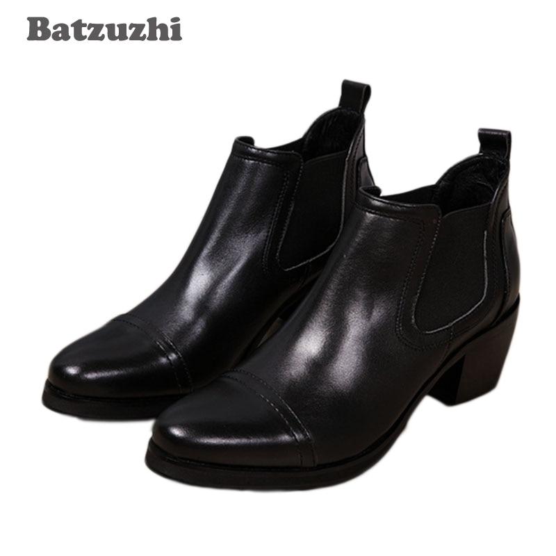 Batzuzhi 6.5CM Heels Men Boots Black Ankle Boots Genuine Leather Men Business Wedding Shoes, big sizes 46 Zapatos Hombre