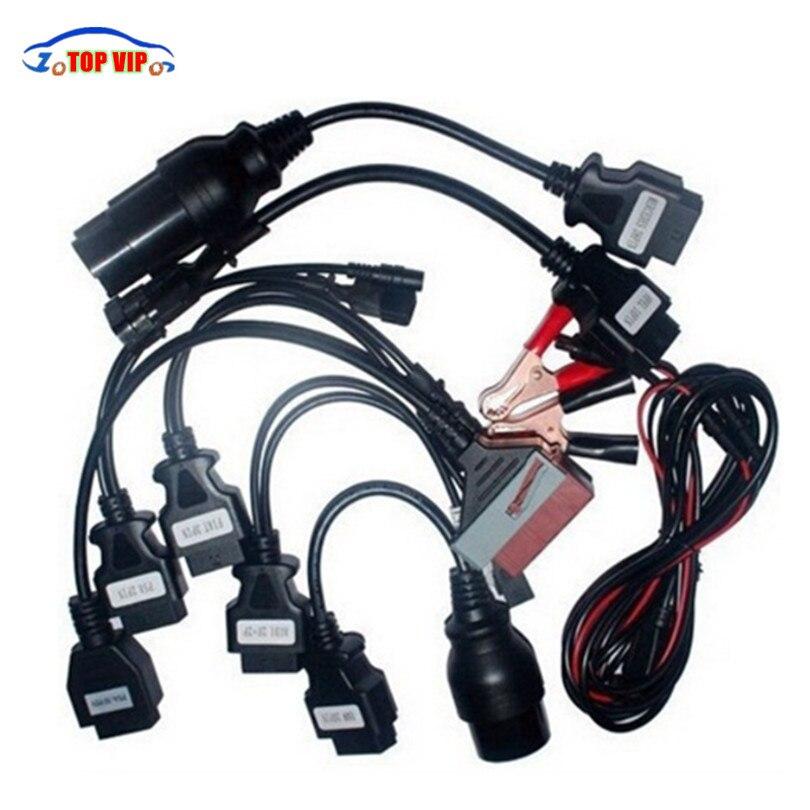 Haute Professionnel Ensemble Complet 8 De Voiture Câble TCS Câbles De Voiture OBD2 OBDII Connecteur Câbles outil de diagnostic câbles pour tcs cdp pro