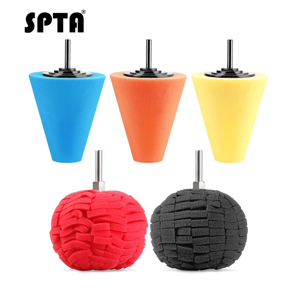 SPTA Burnishing Sponge Cone Metal Polishing Foam Cone Pad Buffing Polishing Ball 3inch 80mm For Car Wheel Hub Care