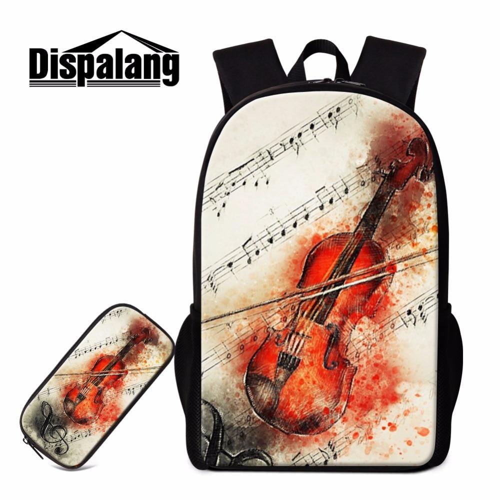 Dispalang Art Backpack and Pencil Cases Violin Guitar Print School Bookbag Women Children Personalized Back Pack Ballet Mochilas