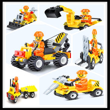 6Pcs/Set Construction Excavator Bulldozer Crane Forklift Drill Engineering Truck Model Building Block Toys Compatible Legoe(China)